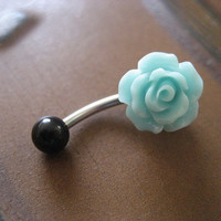 Sea Foam Rose Belly Button Ring- Pastel Minty Mint Green Flower Navel Stud Bar Barbell Piercing Jewelry