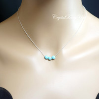 Turquoise Necklace - Turquoise Jewelry - Sterling Silver Turquoise Choker - Faceted Turquoise Bar Pendant