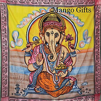 "Ganesha Bedspread Wall Hanging Tapestry , Indian Tapestry, Indian Wall Hanging, Hippy Hippie Tapestry, Ganesha Bedcover, Ganesh Wall Hanging. Size 82"" X 90"" Inches, Queen Size Tapestry By Mango Gifts"