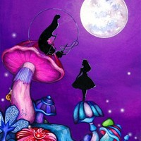 Alice in Wonderland and Caterpillar Stretched Canvas by Annya Kai