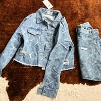 MAIRNE SERRE Tide brand female denim jacket + bag hip skirt two-piece suit