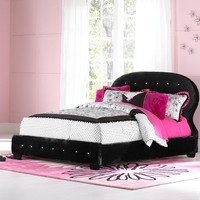 Marilyn Upholstered Full Bed in Black w/ Two Pillows