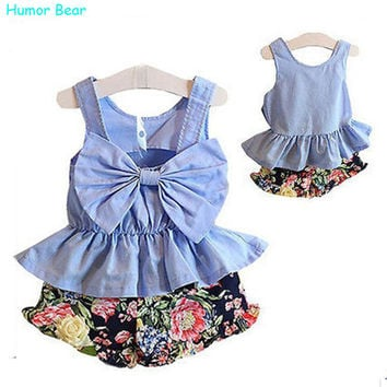 Kids clothes Baby girls dress Summer bowknot vest + floral 7 minutes of pants flowers baby clothes 2 pieces suit girl dress up