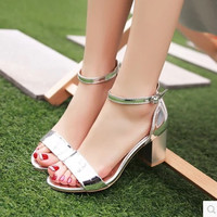 Women's buckle strap shoes square heel brand sandals 2017 summer gold and silver sandalia feminina open toe max size 43 42