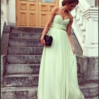 Attractive Sage Sweetheart Floor Length Prom Dress/Graduation Dresses from sweetheart dresses
