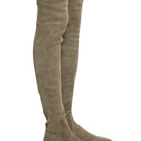 Choudory New Stretch Slim Women Long Thigh High Boots Flats Elastic Suede Leather Over The Knee Boots Soft Big Size Shoes Woman
