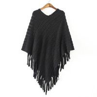 Pull Pullover Womens Capes And Ponchoes Winter Cape With Tassel Women's Sweater Fashion Vintage Bohemian Poncho Cloak