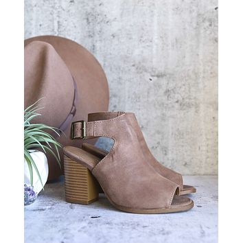 Renee Peep Toe Heeled Booties in Taupe