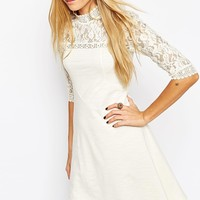 ASOS Skater Dress with High Neck and Mixed Lace Inserts