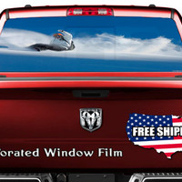 Snowboarding Ride Wide Turn Full Color Print Perforated Film Truck SUV Back Window Sticker Perf008