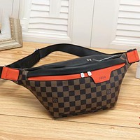 Louis Vuitton LV Classic Plaid Print Casual Leather Waist Bag Fashionable Men's and Women's Shoulder Messenger Bags