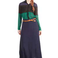 ModCloth Long Maxi One of Ease Days Skirt in Navy