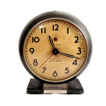 Antique Big Ben Clock - Electric Clock - Westclox - Chime Alarm - 1930s - SD 4 - Gunmetal Gray - Art Deco Style -Shelf Clock