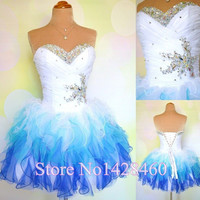 New Arrival  Tulle Short Evening Dresses Ball-Gowns 2015 Sexy Sweetheart Corset Rhinestone  Wedding  Party Prom Gowns