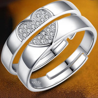 2015 New Creative Gift 925 Sterling Silver Couple Rings Love Ring of Concentric Ring = 1929940356