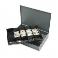 """sparco products cash box,w/ 2 keys,10 compartments,12""""x19""""x3-3/4"""", gy"""