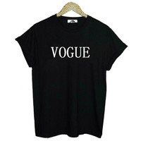 VOGUE Letters Print Women Tshirt Cotton Casual Shirt For Lady White Black Top Tee Drop Ship Hipster