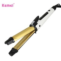 Kemei New 2 in 1 Flat Iron Straightening Irons hair curler Styling Tools Professional Hair Straightener Free Shipping