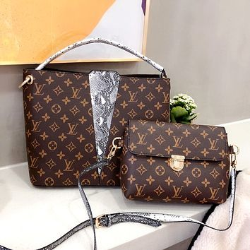 LV Classic Presby Checkerboard Plaid Mother Bag Crossbody Bag Two Piece Set