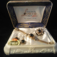 Vintage Jewels by Lynette, Designed By Richard, 1950's Jewelry Demi Parure Set, New Old Stock In Original Box