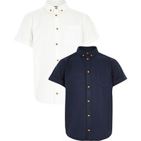River Island Boys white and navy oxford shirt 2 pack