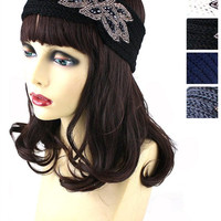 Audrey Crystal Beaded Floral Charm Knitted Headwrap