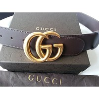 Authentic Cocoa Brown Leather Gucci Belt w/Double G Buckle Gold 397660 Size 85