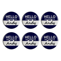 Andy Hello My Name Is Plastic Resin Button Set of 6