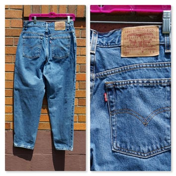 Levis 550 Red Tab Mom Jeans, High Waist, Tapered Leg, 80s Denim, Classic Blue, Preppy Style