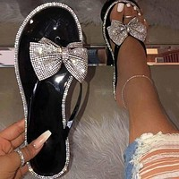 Fashion Woman Casual Diamond Bowknot Sandals Slippers Shoes