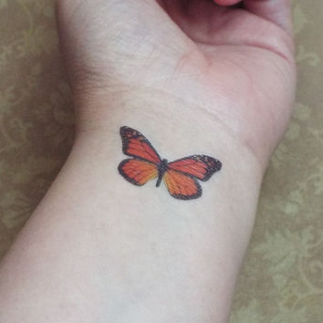 Monarch Butterfly Tattoo Temporary Set of Three