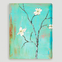 """Dogwood on Turquoise I"" by Laura Gunn - World Market"