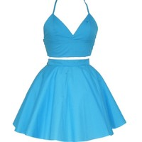 Turquoise Triangle Bralet Crop Top and Skirt set   Style Icon`s Closet