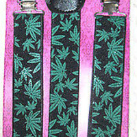 Green Marijuana Weed MJ Leaves on Black Suspenders Combo-New in Package!