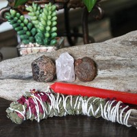 """Love Spell Set including Garnet, Rose Quartz, Carnelian, Homegrown Organic Sage Bundle w/ Roses & Rosemary, 4"""" Red Candle for Pagan Ritual"""