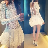 White Long Sleeve Flounce Lace Dress