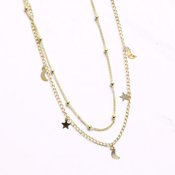 Gold Star and Moon Choker Necklace