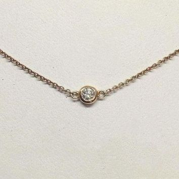 Luxinelle Bezel Single Diamond on 14K Gold Chain - SI G - 14K White, Yellow or Rose Pink Gold