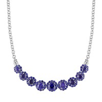 Lab-Created Sapphire Sterling Silver Flower Necklace (Blue)