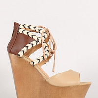 Dollhouse Vacation Two-Tone Mixed Media Platform Wedge Sandal