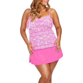 Collections by Catalina Women's Plus-Size Fringe Bandeau Tankini Top With Bra Cups - Walmart.com