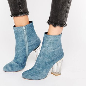 Public Desire Claudia Blue Clear Heel Ankle Boot
