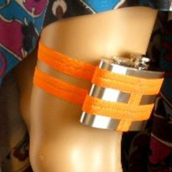 Flask Garter - WITH 4oz flask  - Bright Neon Orange - wedding, party, costume, the possibilities are endless