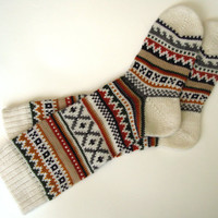 Scandinavian Pattern Autumn/Winter Knit Knee-high Wool Socks