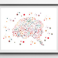 Human brain watercolor print brain cells poster Neurons and brain abstract illustration anatomy science art the brain wall art gift [398]