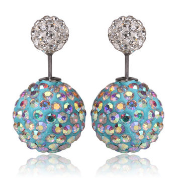 Gum Tee Mise en Style Tribal Earrings - Swarovski Crystal Blue & White Multicolor