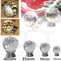 New White Clear Pumpkin Glass Crystal  Bedroom Cabinet Cupboard Drawer Knob Pull Hand 20MM 25MM 30MM 35MM 40MM