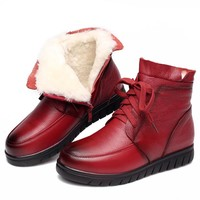 Women's Boots Ankle Boot Genuine Leather Wool Warm Winter Boot Ankle Boots For Women Flat