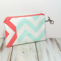 Clutch Bag - Mint and Coral - Bridesmaid Clutch - Small Clutch Purse - iPhone Clutch Wallet - Summer Clutch Bag - Cell Phone Wallet - Clutch
