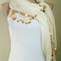 Ivory Scarf Sequin Scarf Cotton Scarf Lightweight Soft Black Scarf Beaded Crochet Scarf Lace Handmade Christmas Gifts